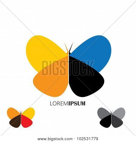 Vector Logo Icon - Colorful Beautiful Butterflies Set