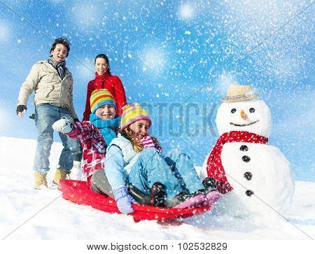 Family Enjoying Winter Day Tobogganing Concept