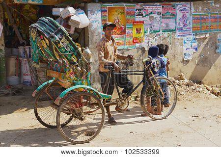 Rickshaw waits for passengers at the street in Bandarban, Bangladesh.