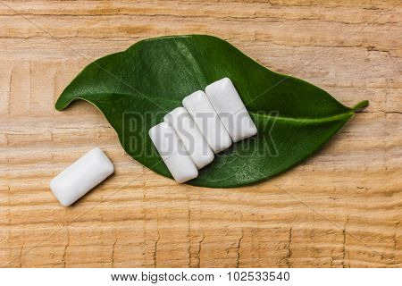 Chewing Gum Is On A Leaf