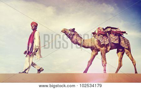 Indian Man Camel Desert Travel Concept