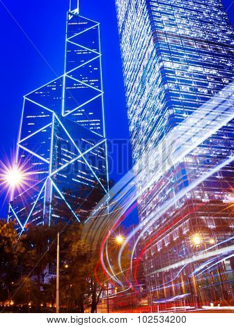 Hong Kong Neon Lights Building Business Disctrict Concept