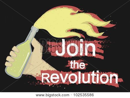 Join the revolution grunge illustration. Black