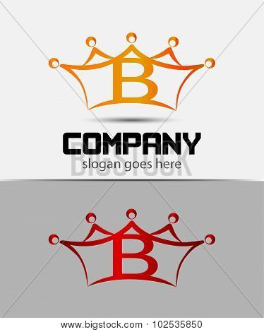 Letter b logo with crown icon design template elements