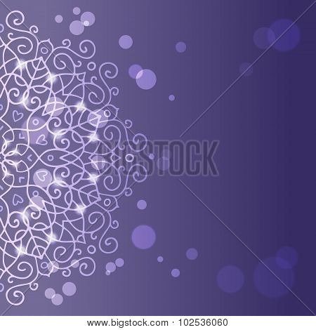 Abstract Purple Background With Mandala Ornament