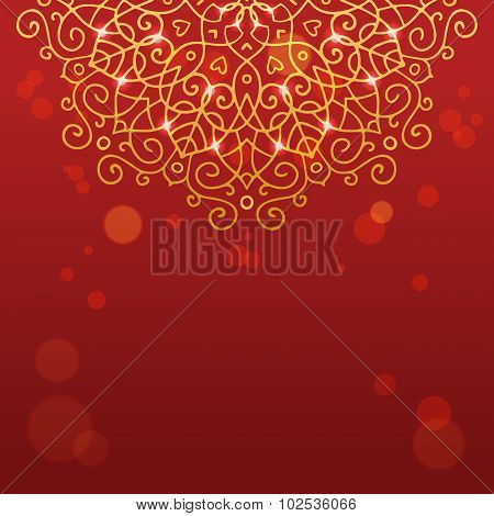 Abstract Red Background With Mandala Ornament