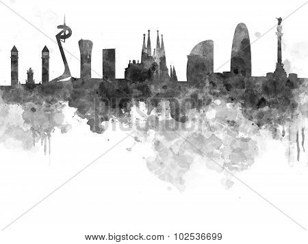 Barcelona Skyline In Black Watercolor