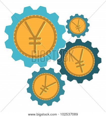 Gear Icon With A Yen Sign