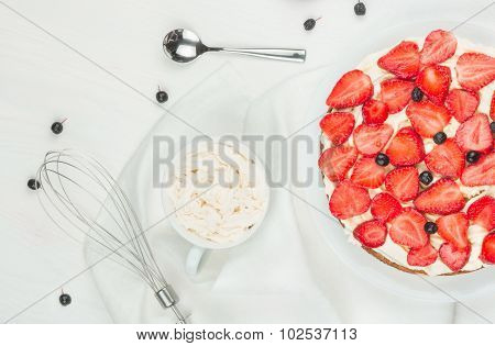 Nutritious Cake With Fresh Strawberries