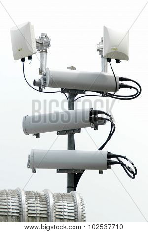 Antennas Of Mobile Cellular Systems With Wifi Hot Spot Repeater And Blue Sky
