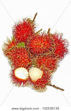Group Of Fresh Rambutan Fruit On White Background.