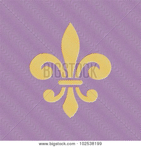 Fleur-de-lis Symbol On Wavy Background.