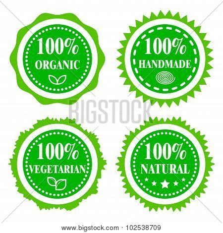 Green Badges. Organic, handmade, vegetarian, natural