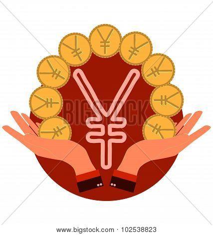 Yen Coin Symbol Icon In Hands