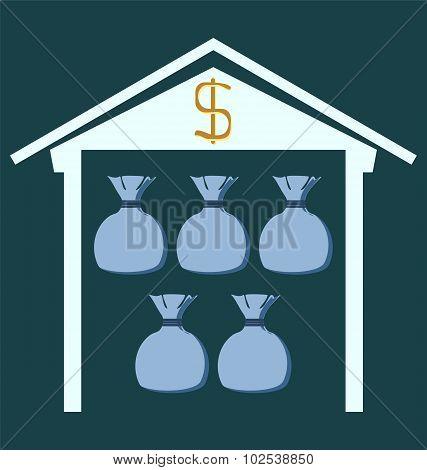 Bank  Building Facade With Dollar Bags