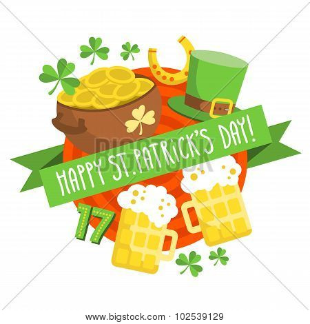 St. Patrick's Day Card Background In Flat Design