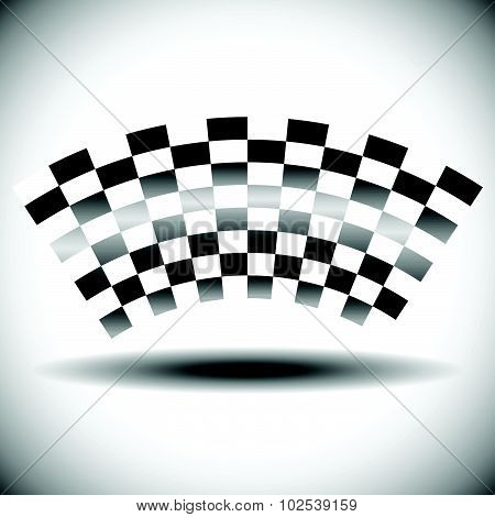 Abstract Checkered Flag On White With Shadow.