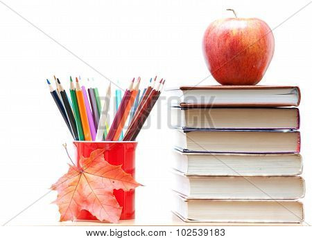 Colored Pencils And Books