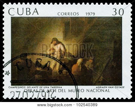 Vintage Postage Stamp. Peasants In Front Of A Tavern.