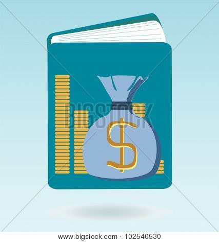 Tax Book Icon. Accounting Book With Dollar Sign.
