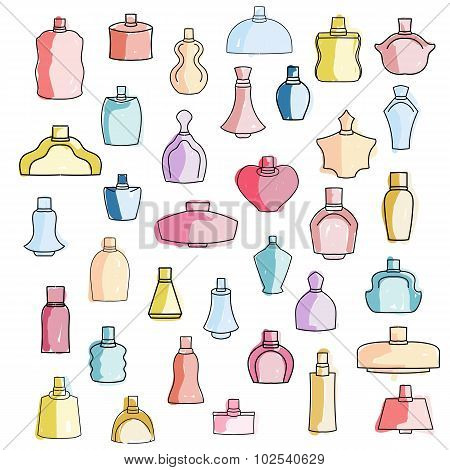 Cute hand drawn colorful perfume bottles