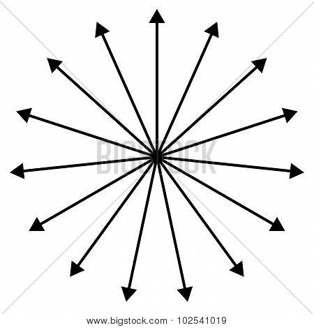 Straight Lines Spreading Outside From Center, Black Arrows Like Spokes.