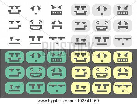 Pixel smiles icons set