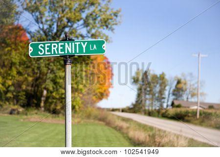 Serenity Lane Street Sign
