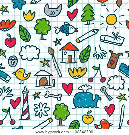 Seamless Pattern With Cute Little Drawings In The Exercise Book