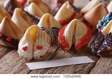 Fortune Cookies Decorated With Candy Sprinkles Close-up. Horizontal