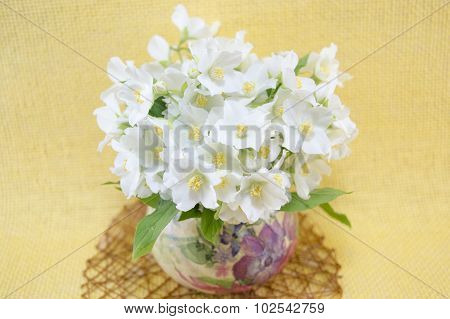 Lily Flowers Bouquet  In A Decoupage Decorated Vase