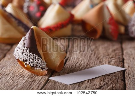 Fortune Cookie Decorated With White Candy Sprinkles And Chocolate