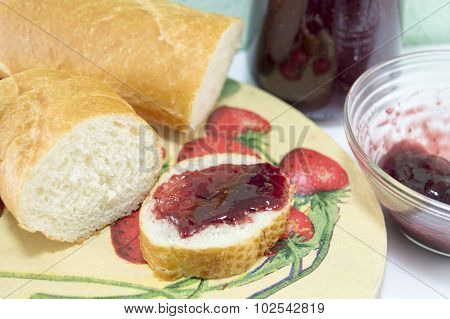 Strawberry Jam On The Bread Slices Served A Decoupage Decorated Tray