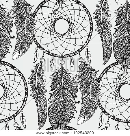Seamless Pattern With Hand Drawn Dream Catchers  In Line Art Style