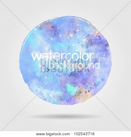 Watercolor Round Stain Background, Blue