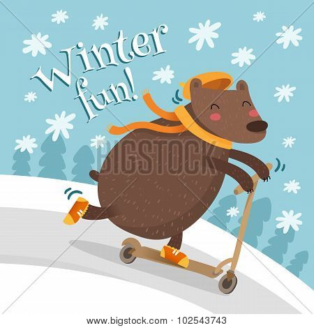Greeting Card Design With Bear On Scooter