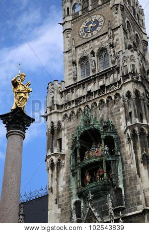 The Mariensaule, A Marian Column And Munich City Hall On The Marienplatz In Munich, German