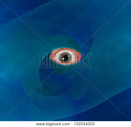eyeball through blue abstract background vision spying