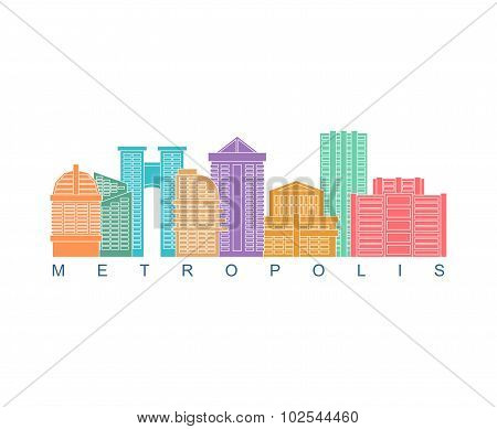 Metropolis Building Color Logo. Skyscrapers Emblem For Business Real Estate And Construction. City V