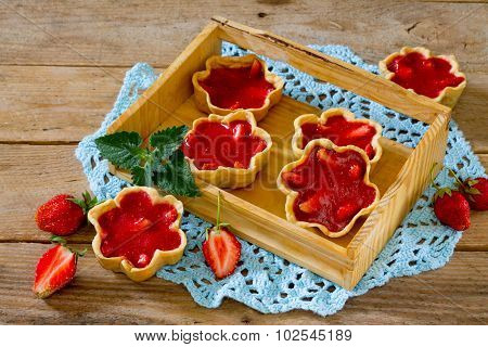 Cake With Strawberry Jelly (shortcrust Pastry), In A Rustic Style