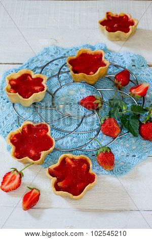Cake With Strawberry Tarts, Shortbread Dough And Strawberry Jelly