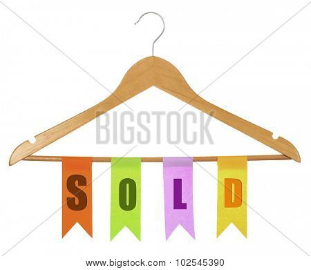 Row of colorful flags hanging on wooden hanger isolated on white