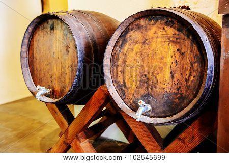 Wine barrels in a bar