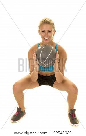 Blond Woman Blue Sports Bra Squat Ball Front Look