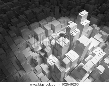 Abstract Digital Cityscape With Tall Buildings 3D