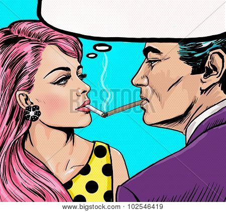 Smoking couple in Pop Art style.Love couple.Pop Art Couple.Pop Art love.Valentines day postcard.Holl