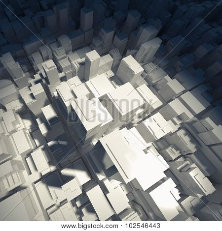 Abstract Digital White Schematic Cityscape 3D