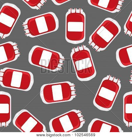 Blood Bag Seamless Pattern. Blood Transfusion Background Vector.