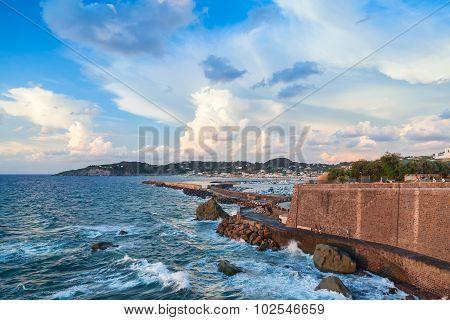 Coastal Landscape With Port Entrance. Forio