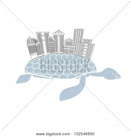 Metropolis On Shell Water Turtles. City Skyscrapers And Office Buildings On Reptiles. Logo Of  New M
